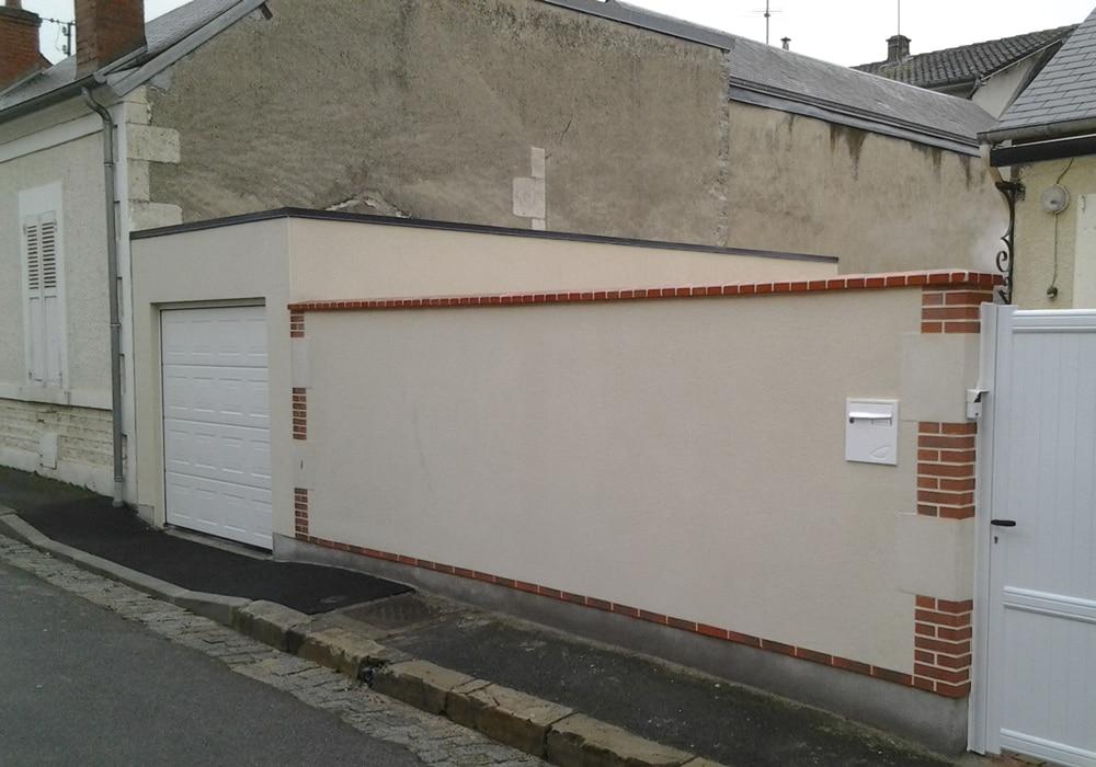 Garage béton enduit toit plat