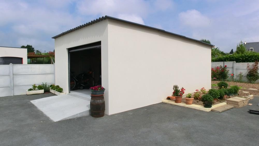 Garage béton enduit 1 pente